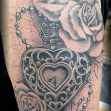 heart clock watch tattoo