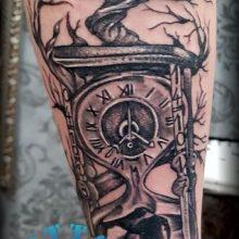 hourglass tree watch clock tattoo forearm