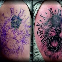 cover up horror tattoos löwe lion